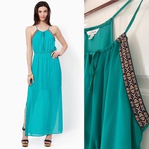 Charming Charlie Moroccan turquoise maxi dress